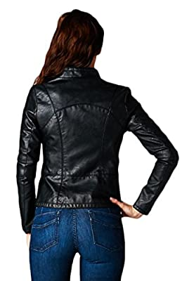 BodiLove Women's Faux Leather Biker Jacket With Stitching Detail