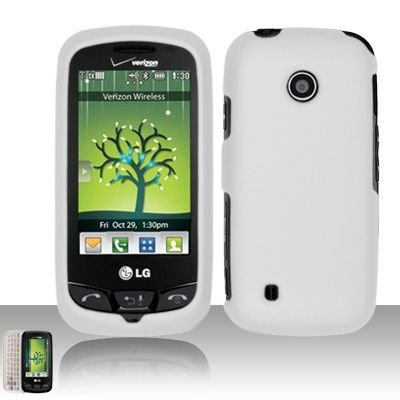 Rubberized white phone case that fits on to your LG Cosmos Touch VN270