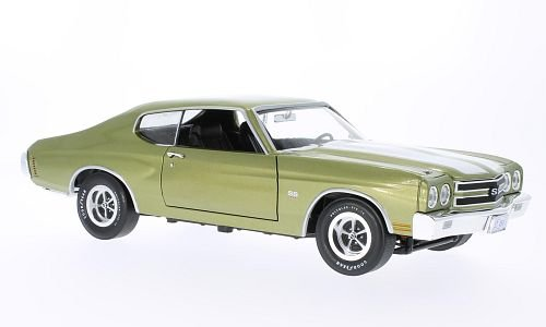 Chevrolet Chevelle SS 454, met.-yellow-green/white , 1970, Model Car, Ready-made, Ertl American Muscle 1:18 18 Ertl Diecast Model