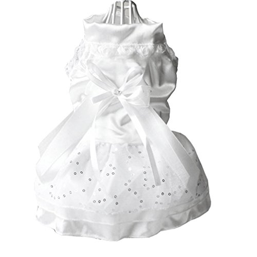 Ranphy Small Dog Cat Floral Satin Wedding Dress Formal Tutu Skirt Dog Apparel for Female Tiered Squins Lace Bow Trim Yorkie Skirt White XL