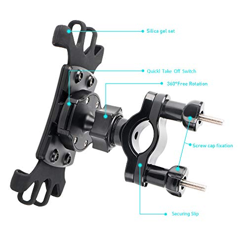 Bike Phone Mount with Quickly Take Off Interface, Leepiya Universal Bicycle Cell Phone Holder Install on Handlebar for iPhone X 8 7 6 5 Plus, Galaxy S9 S8 S7 S6 Plus and All 3.5 to 6'' Mobile Phone/GPS by leepiya (Image #8)