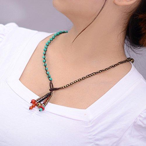 Onyx Kids Necklace - Gambulin Tibetan Turquoise Onyx Beads Tassel Pendant Necklace,Turquoise Onyx Necklace for Women,Girls