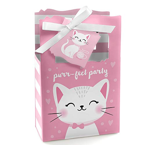 Purr-FECT Kitty Cat - Kitten Meow Baby Shower or Birthday Party Favor Boxes - Set of 12