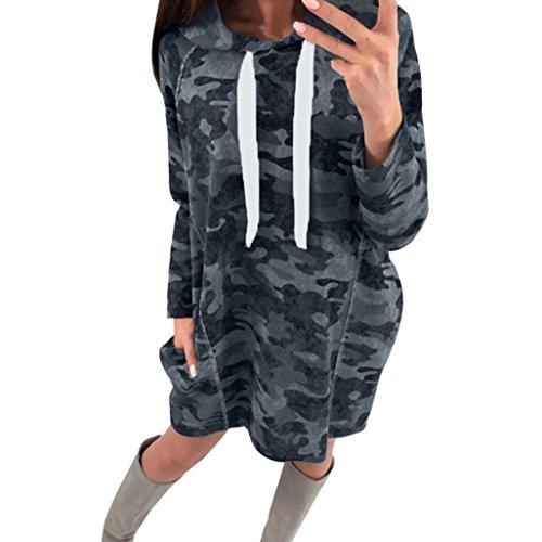FUNIC Women's Loose Camouflage Print Hooded Long Sleeve Short Shirt Dress Knee Length Dress With Pockets (L, (Camouflage Knee Length Skirt)