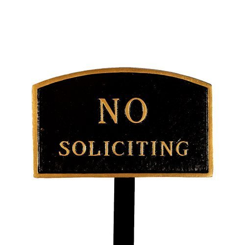 Montague Metal Products SP-10sm-BG-LS Small Black and Gold No Soliciting Arch Statement Plaque with 23-Inch Lawn Stake by Montague Metal Products ()