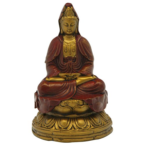 - Meditating Kuan Yin Statue, Red and Gold, 4.5 Inches