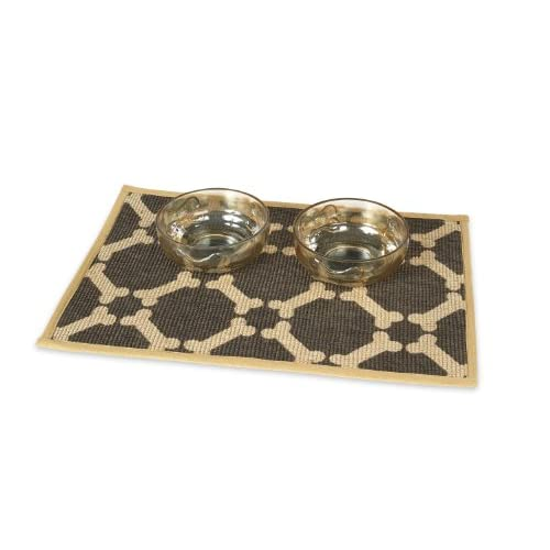 Buddy's Line Natural Jute Pet Placemat with Matching Bow-Wow Glass Pet Bowl Set, 1-Pint, Brown cheap
