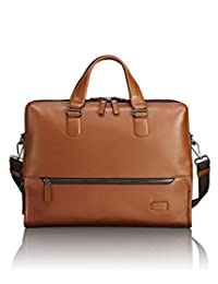 TUMI Men's Harrison Horton Double Zip Brief Briefcase, Umber Pebbled, One Size (Model:063002UMP)