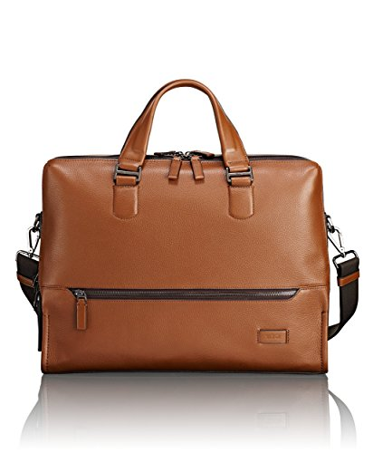 TUMI - Harrison Horton Double Zip Laptop Brief Briefcase - 15 Inch Computer Bag for Men and Women - Umber Pebbled