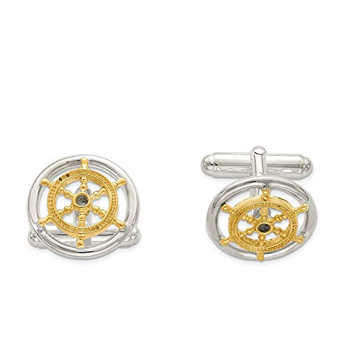 - Men's Sterling Silver and 10k Gold Vermeil 16mm Ships Wheel Cuff Links
