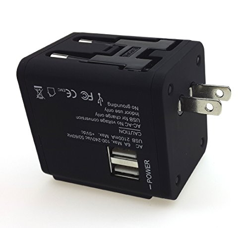 Mepro Worldwide Travel Adapter with Dual USB Ports Universal All-in-one Charger [US UK EU AU] Plug (Black A)
