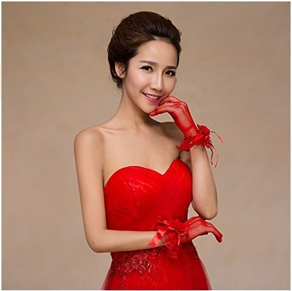 Sexy Floral Bow Lace Short Gloves Women Bridal Wedding Gloves Party Fancy Costumes