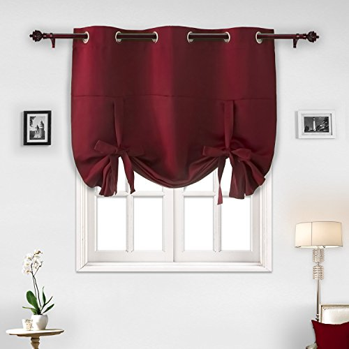 Deconovo Red Grommet Blackout Curtains Kids Room Darkening Curtains Crimson Red 46W x 63L One Panel