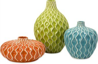 IMAX 25016-3 Agatha Ceramic Vases, Set of - Set Ceramic Vases