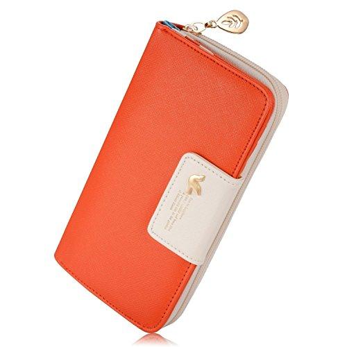 Weeno Women's Multi-card Wallet Clutch Purse Two Fold Long Zipper Organizer Card Holder(Orange)