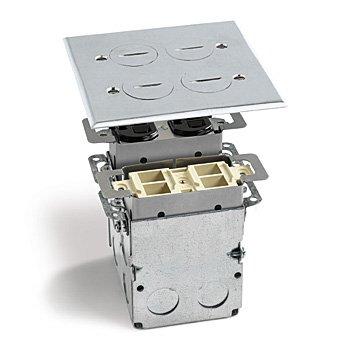 Lew Electric SWB-4-PQ-A Floor Box, Quad Box w/Duplex Receptacle & 4 Communications/Data Ports - Aluminum