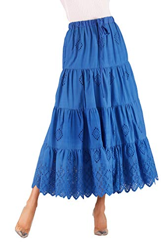Love Welove Fashion Women's Solid Cotton Embroidered Tiered Flare A-line Ankle Length with Lining Maxi Skirt (S, Rayol Blue)