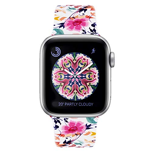 (YOUKEX Sport Flower Band Compatible with Apple Watch 38mm 40mm 42mm 44mm,Soft Printed Strap Replacement Wristbands Compatible with iwatch Sport Series 4 Series 3 Series 2 Series 1(42/44mm)