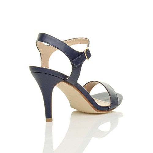 Heel Blue Barely Women Matte Size Ajvani Sandals Navy Shoes High There gxAqaqzw