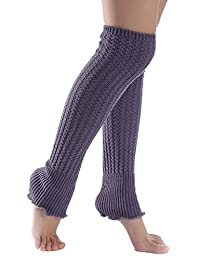 YACUN Women's Winter Cold Weather Solid Knit Long Leg Warmers Grey F