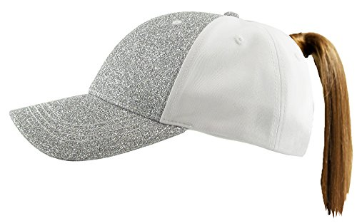 (Funky Junque H-216-GS01 Pony Cap - Gltter - Solid Silver)