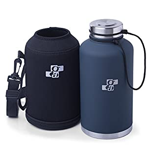 Insulated Beer Growler 64 oz | Stainless Steel Vacuum Water Bottle for HOT and COLD Beverages | Growler Carrier and Replacement GASKET Included