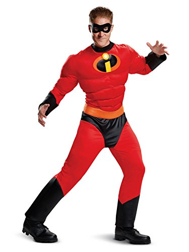 Disguise Men's Mr. Incredible Classic Muscle Adult Costume, red L/XL (42-46) ()