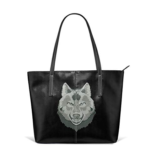 Women's Soft Leather Tote Shoulder Bag Wolf Big Capacity Casual Portable Handbag Purses Work Travel Bag (The Wolf Of Wall Street First Wife)