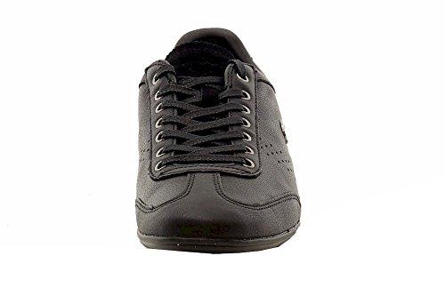 Lacoste Men's Misano 34 Fashion Black Leather Sneakers Shoes Sz: 13