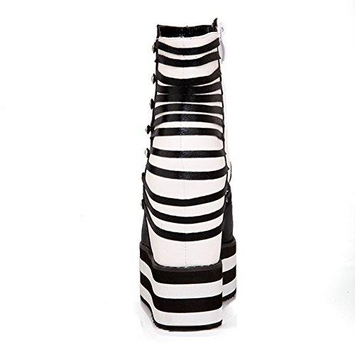 AgooLar Women's Studded PU High-Heels Peep Toe Zipper Sandals Black 8eLvnN