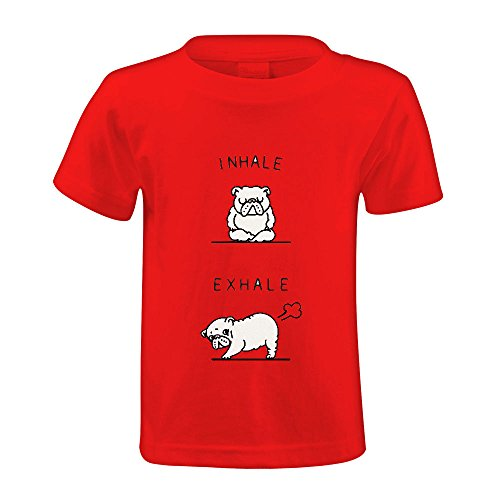 Price comparison product image Chas Inhale Exhale English Bulldog Boys' Crew Neck Graphic T-shirt Red