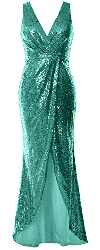 Neck Long Dress MACloth V Gown Prom Bridesmaid Women Sequin Hi Turquoise Dress Formal Lo 50aqnafw4H