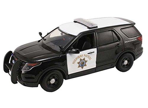 NEW 1:24 DISPLAY MOTOR MAX POLICE - BLACK WHITE FORD POLICE INTERCEPTOR UTILITY CALIFORNIA HIGHWAY PATROL Diecast Model Car By Motor (Diecast Car Highway)
