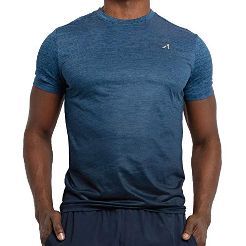 (Alive Men's Tee Shirt Active Quick Dry Workout Short Sleeve Shirts Crew Neck (Medium, Estate Blue Heather/Midnight Dip))