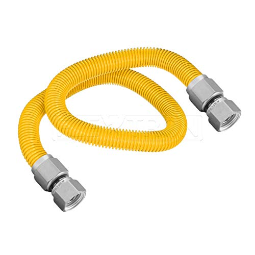 (Flextron FTGC-YC38-60H 60 Inch Flexible Epoxy Coated Gas Dryer Connector with 1/2 Inch Outer Diameter & 3/8 Inch FIP x 3/8 Inch FIP Fitting, Yellow/Stainless Steel, Excellent Corrosion Resistance)