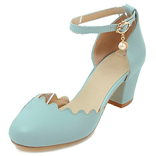 Aisun Womens Round Closed Toe Dressy Buckled Elegant Block Mid Heels Ankle Strap Sandals Shoes Blue ss7msKv