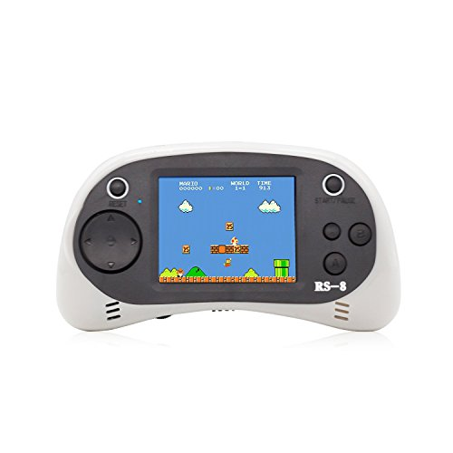 "E-MODS GAMING USB Charging Retro Game Console, Portable 260 Built-in Handheld Game, 2.5"" LCD Screen, Good Gift for Children(White)"