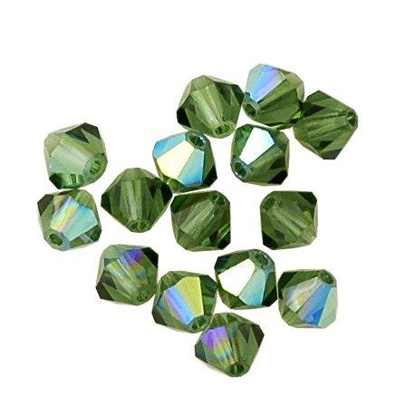 - 100 pcs 3mm Swarovski 5301 Crystal Bicone Beads, Green Turmaline AB, SW-5301