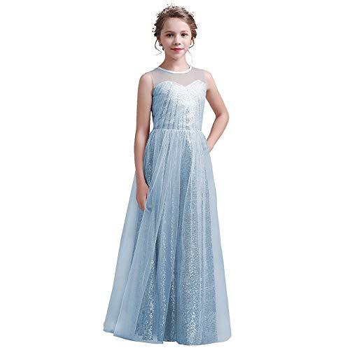 Long Junior Bridesmaid Dresses Aqua Sequin Flower Girl Dress Pageant Dresses for Girls Formal Wedding Party Maxi Dress Dance Ball Gown 14t ()