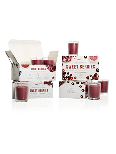 Yummi Set of 24 Sweet Berries Scented Votive Candles in Clear (Berry Candle Holder)