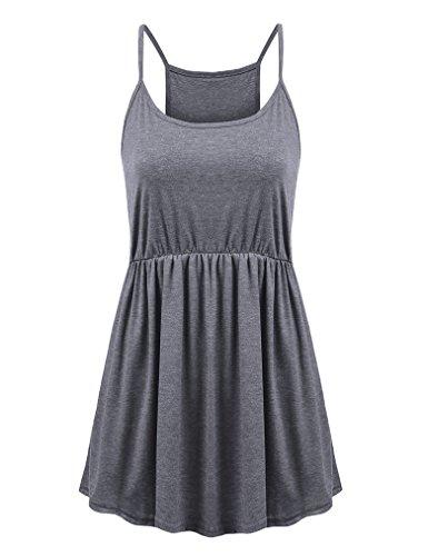 Empire Waist Tank - Feager Women's Summer Spaghetti Strap Pleated Sleeveless Slip Casual Cami Tunic Tank Top (Gray, M)