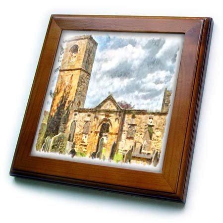 3dRose Taiche - Watercolor - English Heritage Church - Old Holy Trinity Church, Wentworth - 8x8 Framed Tile (ft_317490_1)