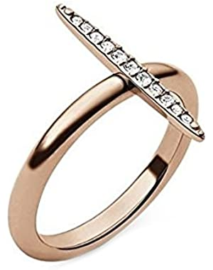 MKJ3524 Brilliance Matchstick Rose Gold Ring with Crystal Pave Size 8