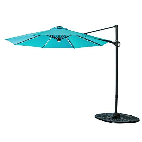 C-Hopetree 10 Feet LED Cantilever Offset Garden Umbrella, Hanging Outdoor Patio Umbrella, Infinite Tilt, 360° Rotation and Cross Base, Aqua Blue