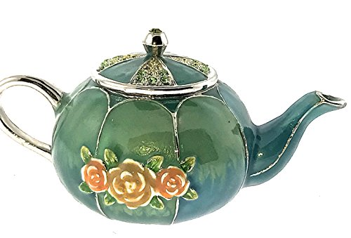 Round GreenTeapot Jewelry Trinket Box Crystallized Bejeweled Swarovski Crystals Hinged Collectible