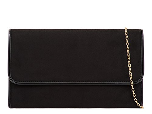 Women's Handbag Formal Kl2104 Ladies Bag Clutch Faux Black Cocktail Party Purse Suede Bridal aSF4x