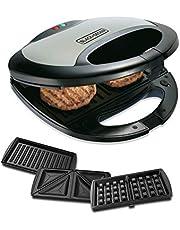 Black+Decker 750w 3 In 1 Sandwich, Grill And Waffle Maker, Black/Silver - TS2090-B5, 2 Years Warranty