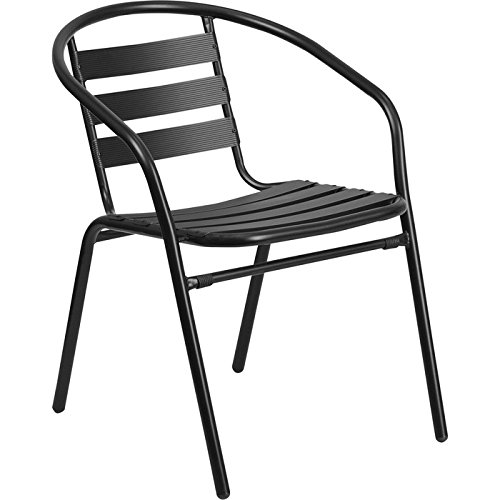 Flash Furniture Black Metal Restaurant Stack Chair with Aluminum Slats by Flash Furniture
