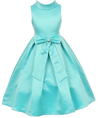iGirlDress Little Girls' Bridal Dull Satin Bow Flower Christmas Dressess 6 -