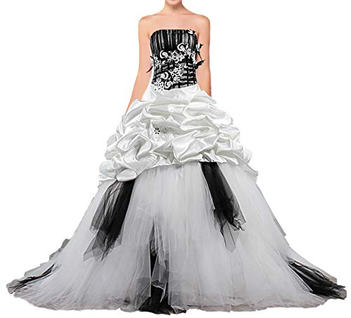 ANTS Women's Strapless Black and White Ball Gown Wedding Dresses 2019 Size 14 US White